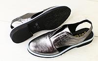 Босоножки никель кожаные на низком ходу, фото 1