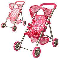 Кукольная коляска детская металлическая, большие колеса, с корзиной, в кор-ке