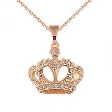 Кулон Корона на цепочке золотистая