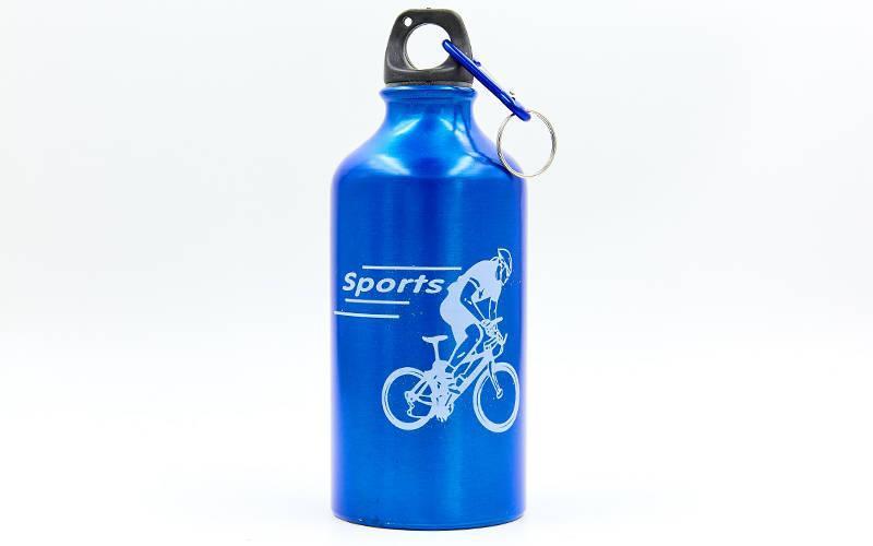 Бутылка для воды алюминивая спортивная с карабином 400 мл синяя 370-01