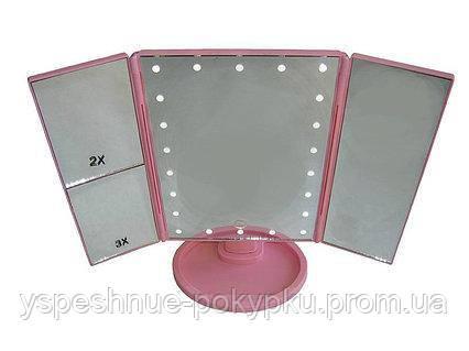 Косметическое складное зеркало led miror с led подсветкой pink
