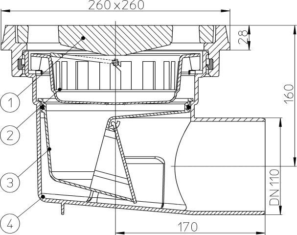 HL605.1  Дворовый трап серии Perfekt DN110 горизонтальный выпуск с чугунными подрамниками, Австрия