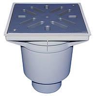 HL606LW/1 Дворовый трап серии Perfekt DN110 вертикальный 244х244мм/226х226мм ПП с водяным затвором.