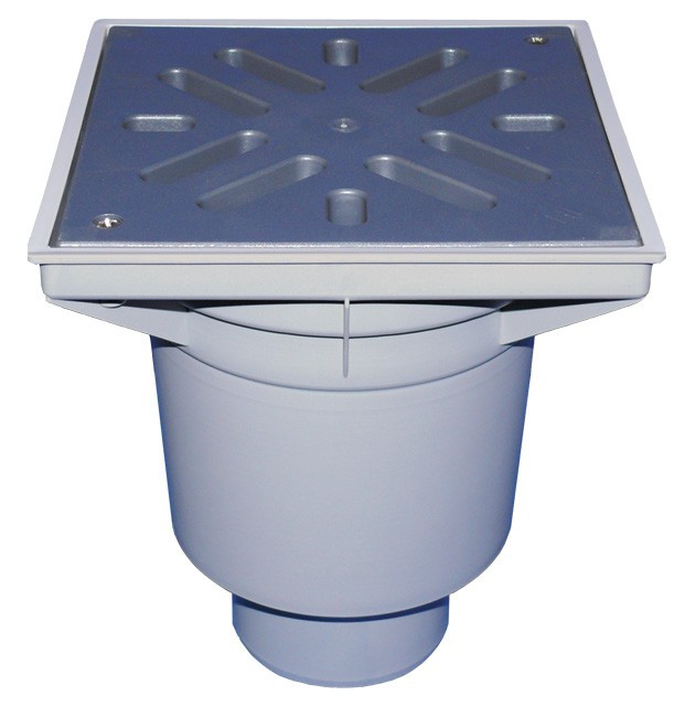 Дворовый трап Hutterer & Lechner серии Perfekt DN110 с вертикальным выпуском и морозоустойчивым запахозапирающим затвором HL606L/1