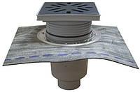 Дворовый трап Hutterer & Lechner серии Perfekt DN160 с вертикальным выпуском с битумным полотном и с морозоустойчивой запахозапирающей заслонкой