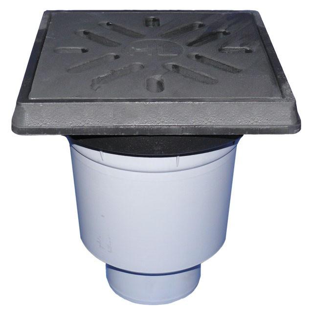 Дворовый трап Hutterer & Lechner серии Perfekt DN110 вертикальным выпуском и морозоустойчивым запахозапирающим устройством HL606.1/1