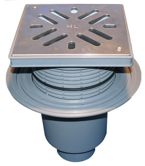 Дворовый трап Hutterer & Lechner серии Perfekt DN110 из нержавеющей стали с вертикальным выпуском, фланцем и водяным затвором HL616SW/1