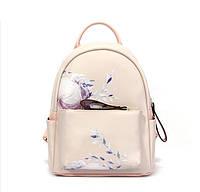 Рюкзак городской женский с цветами  (розовый )