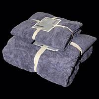 """Подарочный набор из двух махровых полотенец (баня и лицо)""""Серый"""""""