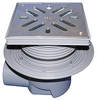 Дворовый трап Hutterer & Lechner серии Perfekt DN110 из нержавеющей стали с горизонтальным выпуском, фланцем и морозоустойчивой запахозапирающей
