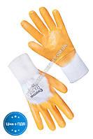 Перчатки ХБ с желтым нитриловым покрытием 3/4 10 размер
