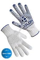 Перчатки трикотажные белые с ПВХ точкой 520