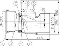 HL720.1 Механический магистральный канализационный затвор из ABS, DN200мм, Австрия
