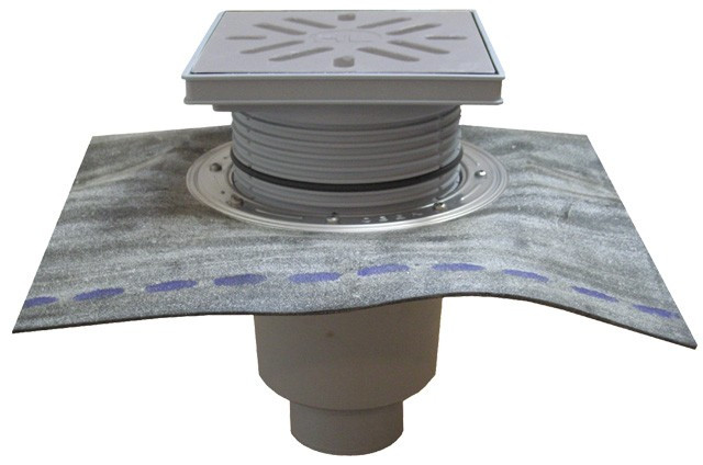 Дворовый трап Hutterer & Lechner серии Perfekt DN110 с вертикальным выпуском с битумным полотном и водяным затвором   HL616HSW/1