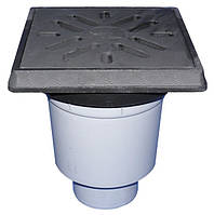 HL606.1W/1 Дворовый трап серии Perfekt DN110 вертикальный 260х260мм/226х226мм чугун с водяным затвором.