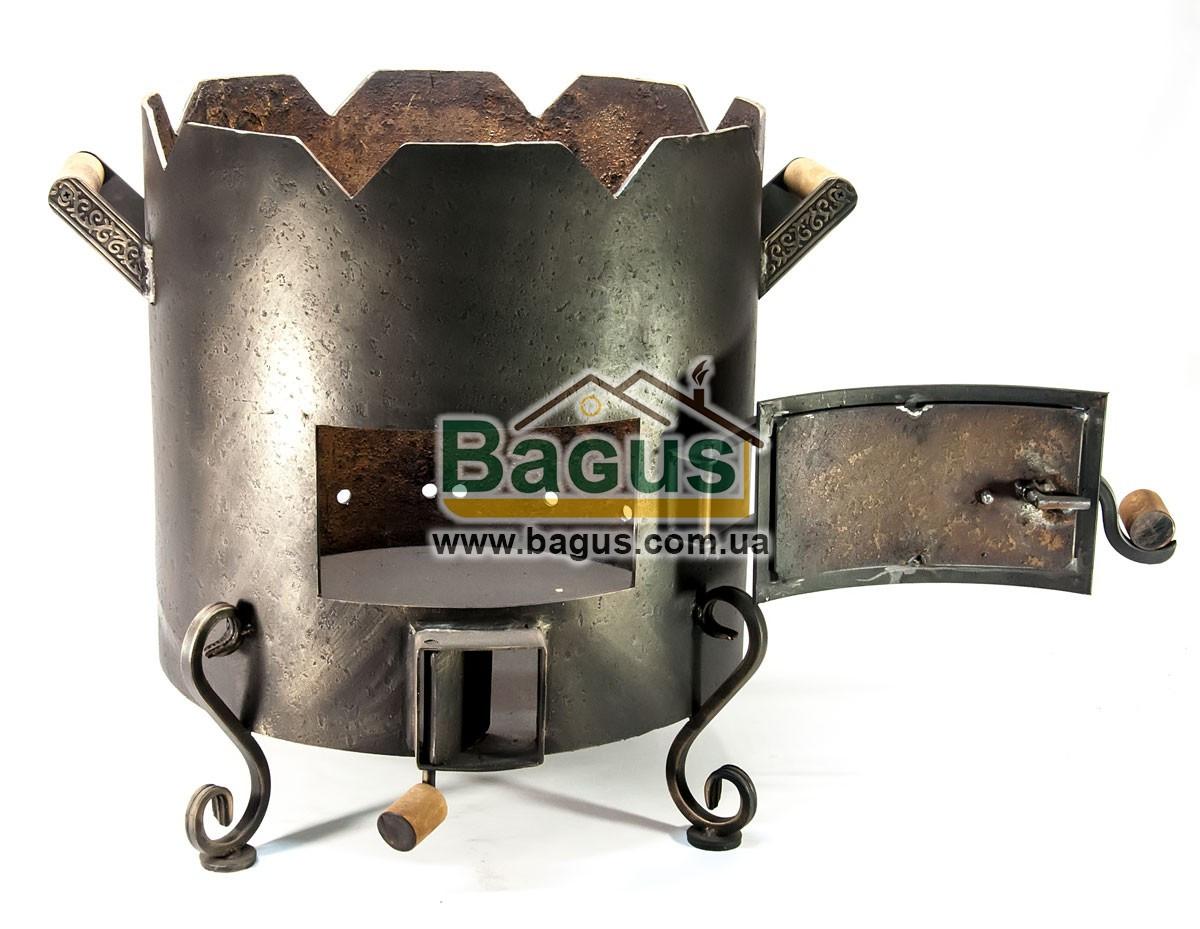 Піч ø41см для татарського казана 12-22л з кованими деталями, низька, товщина металу 3мм