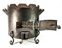 Піч ø41см для татарського казана 12-22л з кованими деталями, низька, товщина металу 3мм, фото 1