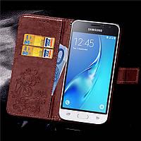 Чехол Clover для Samsung Galaxy J1 2016 J120 J120H книжка кожа PU коричневый