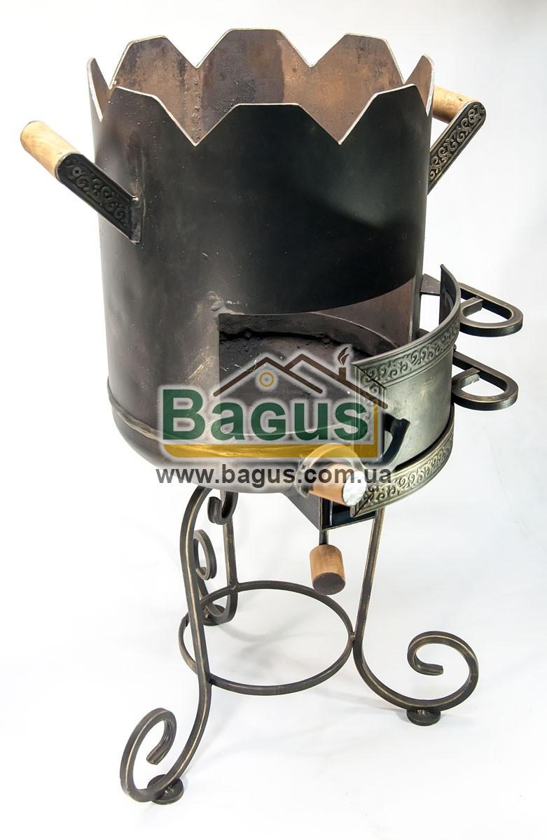 Печь ø29см для татарского казана 5-8л с коваными деталями, высокая, толщина металла 3мм