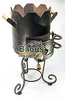 Печь ø29см для татарского казана 5-8л с коваными деталями, высокая, толщина металла 3мм, фото 1