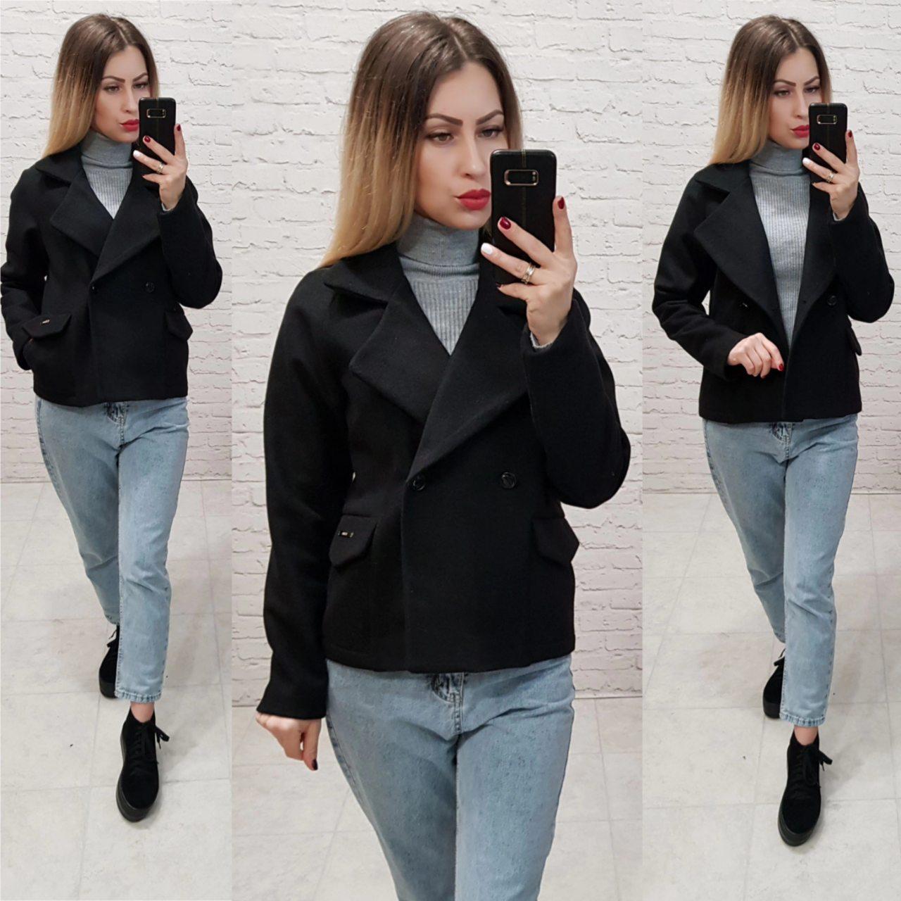 Стильне двобортне пальто - жакет, арт 826, колір чорний