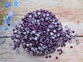 Полубусины перламутрові, 6 мм, колір фіолетовий, 10 грам (176-180 шт)