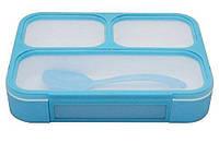 Силиконовый Ланч Бокс Grid lunch box голубой