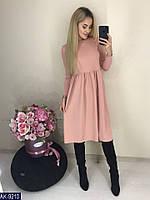 Женское однотонное весенне-осеннее миди платье с длинным рукавом, размеры 42-56, 3 цвета