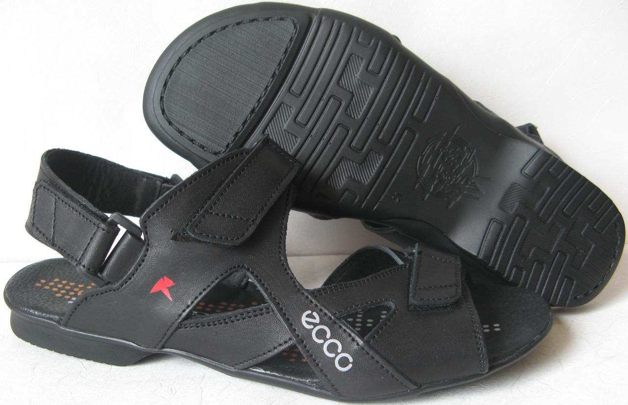 Ecco Black! Мужские сандалии на липучках! Натуральная кожа лето  босоножки в стиле Экко