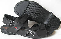 Ecco Black! Мужские сандалии на липучках! Натуральная кожа лето  босоножки в стиле Экко, фото 1