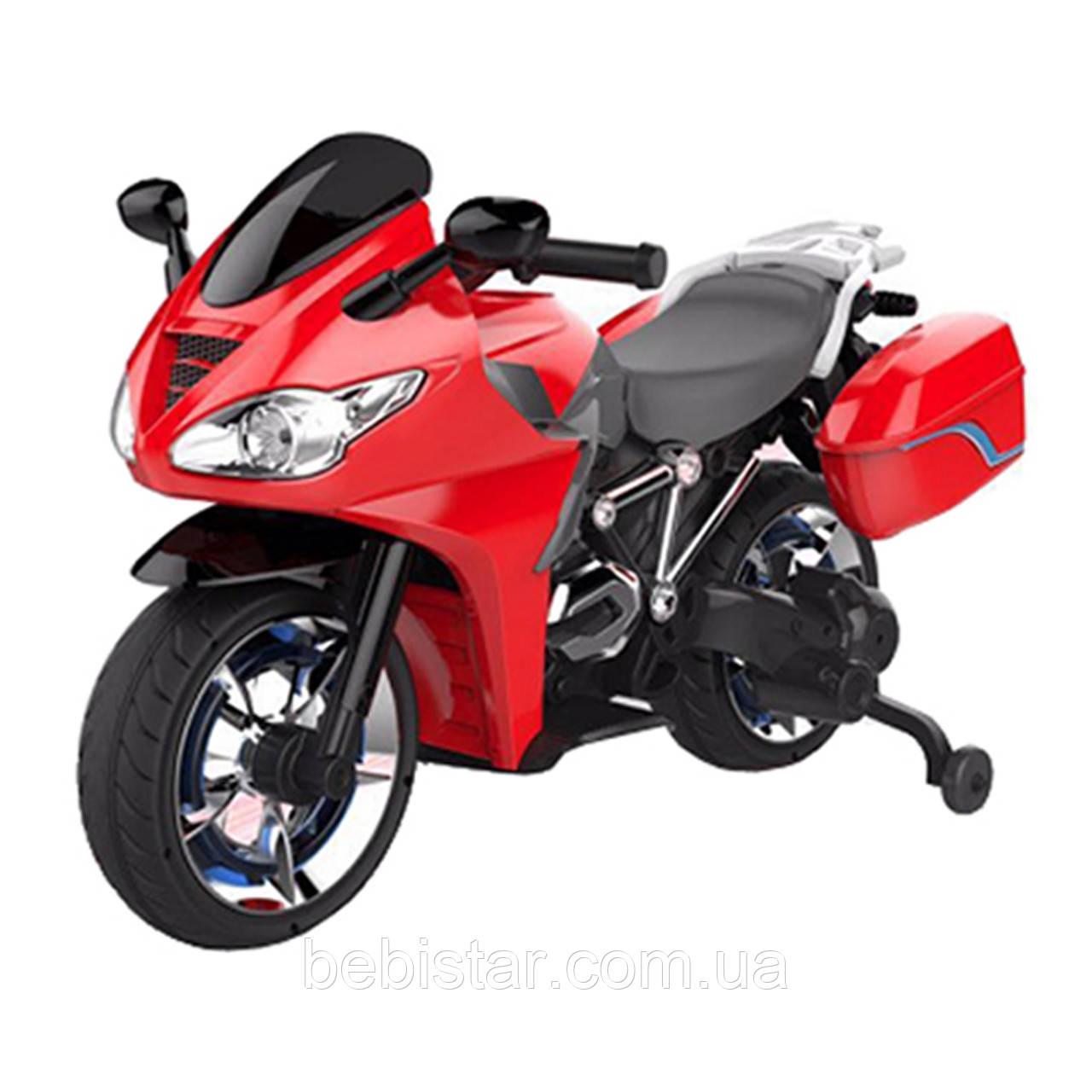 Мотоцикл аккумуляторный детский красный от 3-х до 8-ми два мотора светятся фары и колеса размер 110х56х70см