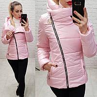 Женская куртка весна косая молнияткань плащевка на силиконе цвет розовый, фото 1