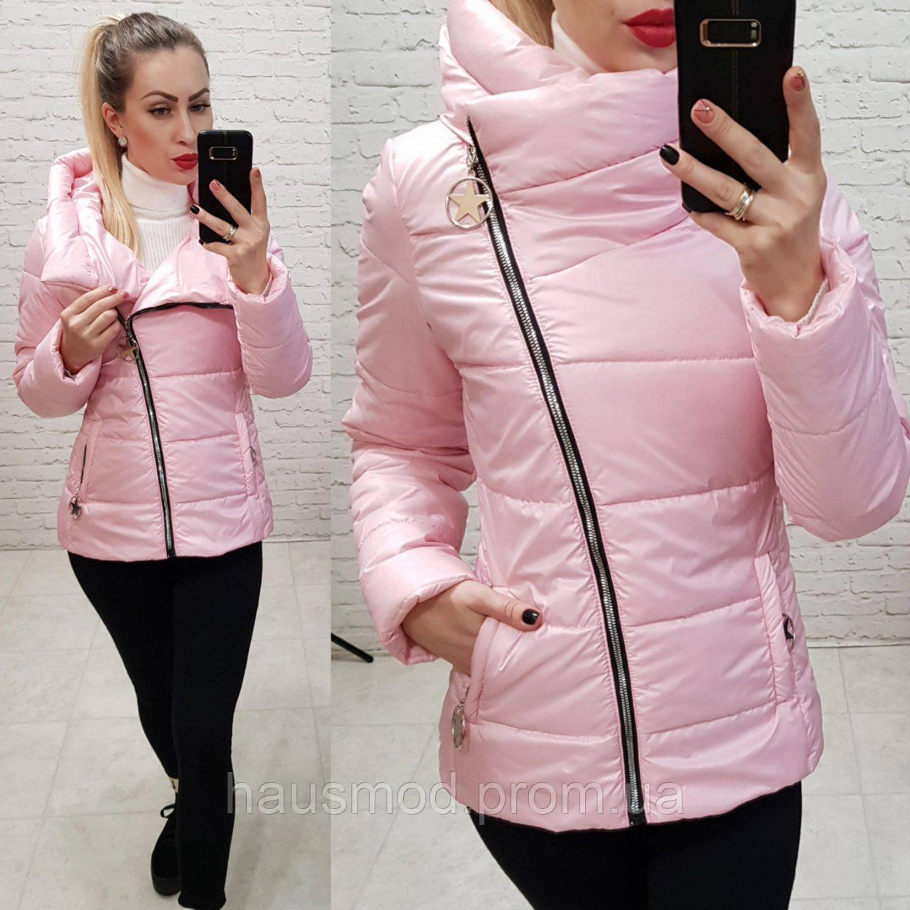 Женская куртка весна косая молнияткань плащевка на силиконе цвет розовый