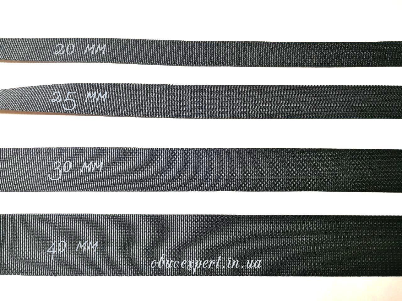 Ременная лента 25 мм Репсовое плетение, цв. черный