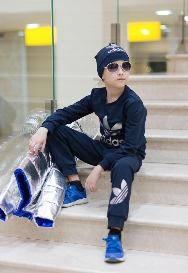 796a249530b47 Детский стильный спортивный костюм с шапкой Adidas двухнить размер: от 98  см до 134 см