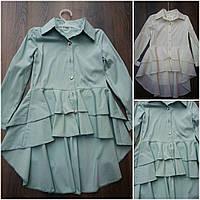 """Блуза-рубашка с удлиненной спинкой """"Мальвина"""", разные цвета, рост 128-152 см., 345/315 (цена за 1 шт. + 30 гр)"""