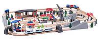 Деревянная железная дорога 202 элемента Woody Premium с электро поездом