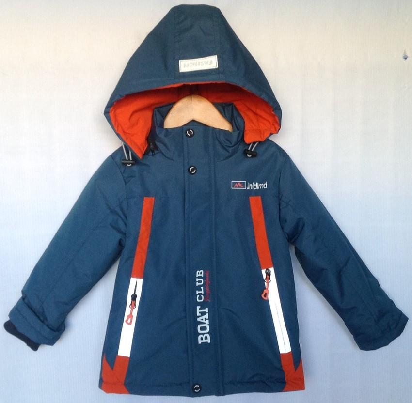 """Куртка детская демисезонная """"Boat Club"""" #C-36 для мальчиков 5-6-7-8-9 лет (110-134см). Синяя. Оптом."""