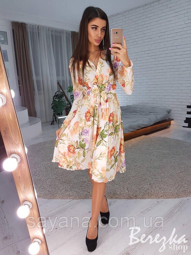 a1141b1bbd49796 Купить Женское платье на запах с цветочным принтом в расцветках. СФ ...