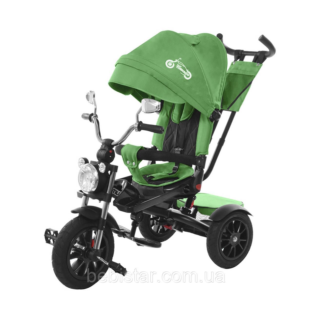 Триколісний велосипед TILLY TORNADO зелений надувні колеса підкрильники поворотне сидіння музика і світло