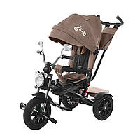 Трехколесный велосипед TILLY TORNADO коричневый надувные колеса подкрыльники поворотное сидение музыка и свет