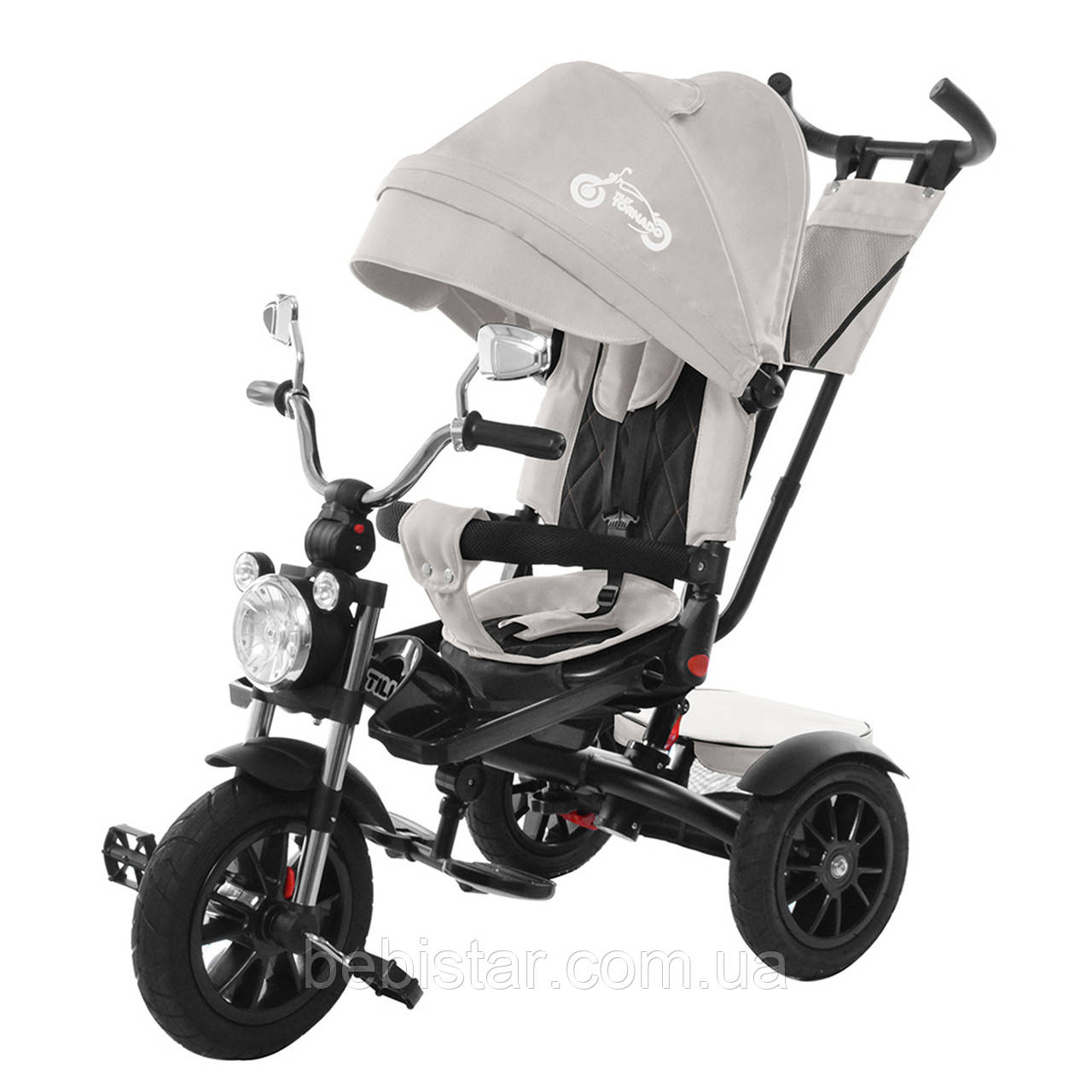Трехколесный велосипед TILLY TORNADO серый надувные колеса подкрыльники поворотное сидение музыка и свет