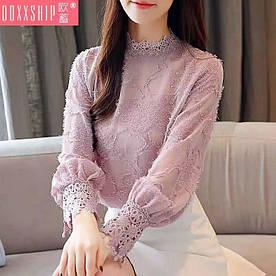 Блузка женская ажурная. 3 цвета. Фабричный Китай, отличное качество, стандартный размер 42-46