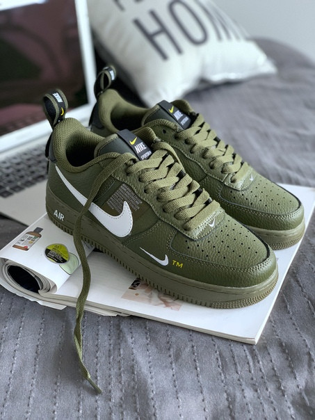 1952459f Мужские кроссовки Nike Air Force 1 '07 LV8 Utility (Olive Canvas / White)