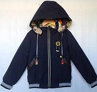 """Куртка-ветровка двухсторонняя детская """"SR"""" #JKI-009 для мальчиков 5-6-7-8-9 лет (110-134см). Темно-синяя. Опт, фото 1"""