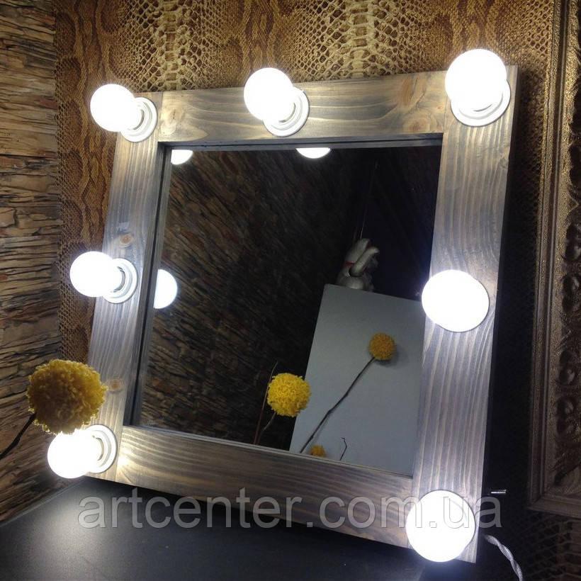 Зеркало с подсветкой в раме из натурального дерева