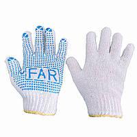 Перчатки рабочие х/б трикотажные с ПВХ-точкой, вязаные, белые, FAR, упаковка — 12 пар
