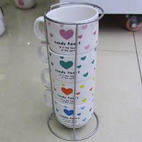 """Чашки на подставке """"Candy Heart"""" 5пр/наб (чашка 6*7см) 150мл"""