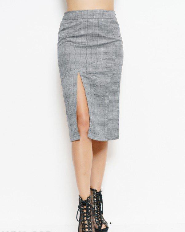 863c279d817 Серая юбка в клетку с разрезом на ноге (есть размеры) - FashionLike в Одессе