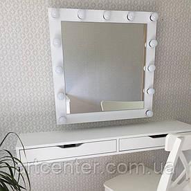 Квадратне дзеркало з підсвічуванням, настінне, білого кольору, масив ясеня